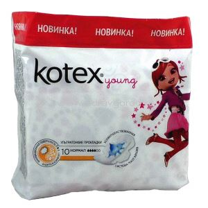 "Kotex Young Normal прокладки гигиен. с крыл. ультратонк. повер. ""сеточ."" N10 Kimberly-Clark РОССИЯ"